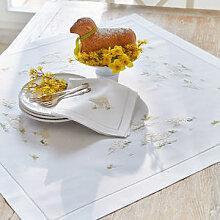 Aufwendig bestickte feine Hohlsaum-Tischdecke