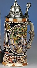 Aufwendiger Relief Bierseidel - Weltkarte- Ship-Globe- German Beer Stein, Beer Mug - Feinsteinzeug, handbemalt mit Deckel aus Zinn