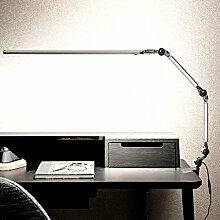 Augenschutz LED Power Tischleuchte, 10W stufenlose Helligkeit einstellbare Licht Flexible Lesetisch Lampe Erleuchtung ( Farbe : Silber )