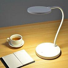 Augenschutz Schreibtischlampe, LED Tischlampen Dimmable Touch Augenpflege mit USB Ladegerät Port Erleuchtung ( Farbe : Weiß )