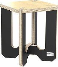 AUPROTEC Blumenhocker Beistelltisch HE-31 Birke 25 x 25 x 30 cm Blumenständer natur / schwarz Multiplex Birken-Sperrholz in exklusivem Design als Pflanzen-Säule Fußbank Hocker Tisch