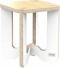 AUPROTEC Blumenhocker Beistelltisch HE-32 Birke 25 x 25 x 30 cm Blumenständer natur / weiß Multiplex Birken-Sperrholz in exklusivem Design als Pflanzen-Säule Fußbank Hocker Tisch
