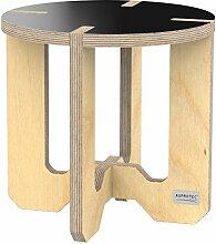 AUPROTEC Blumenhocker Beistelltisch HR-13 rund Ø 30cm Birke 31cm hoch Blumenständer Multiplex Birken-Sperrholz in exklusivem Design als Pflanzen-Säule Fußbank Hocker Tisch: schwarz / natur