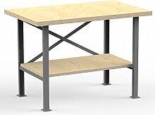 AUPROTEC Profi-Werkbank 1250 x 600 x 850 mm mit Multiplex-Platte 40mm - Werkbankplatte Massiv Multiplex Holz - Industriequalitä