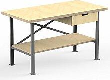 AUPROTEC Profi-Werkbank 1500 x 600 x 850 mm Arbeitsplatte Multiplex 40mm mit 1 Schublade und Ablage Holz Werkbankplatte Massiv Multiplexplatte - Industriequalitäts-Werktisch