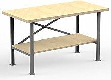 AUPROTEC Profi-Werkbank 1500 x 600 x 850 mm mit Multiplex-Platte 40mm - Werkbankplatte Massiv Multiplex Holz - Industriequalitä