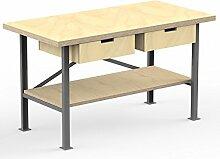 AUPROTEC Profi-Werkbank 1500 x 800 x 850 mm Arbeitsplatte Multiplex 40mm mit 2 Schubladen und Ablage Holz Werkbankplatte Massiv Multiplexplatte - Industriequalitäts-Werktisch