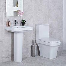 Aura Toilette mit Aufputzspülkasten und Waschbecken Se