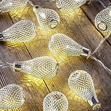 Auraglow Batteriebetriebene Lichterkette mit 12 LEDs mit warmweißem Schein für den Innenbereich, 2,5 m - Träne