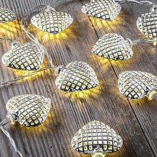 Auraglow Batteriebetriebene Lichterkette mit 12 LEDs mit warmweißem Schein für den Innenbereich, 2,5 m - Herz