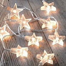 Auraglow Batteriebetriebene Lichterkette mit 12 LEDs mit warmweißem Schein für den Innenbereich, 2,5 m - Klar Sterne
