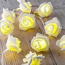 Auraglow Batteriebetriebene Lichterkette mit 12 LEDs mit warmweißem Schein für den Innenbereich, 2,5 m - Weiße Rose