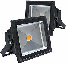 Auralum® 20W LED Fluter Außenstrahler Außenleuchte Flutlicht AC85-265V 1800LM IP65 Warmweiß Wasserdich