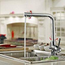 AuraLum 3-Weg Wasserfilter Chrom Küchearmatur Wasserhahn für Spülbecken Küche