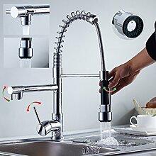 Auralum 360° Design Wasserhahn Armatur Küchenarmatur mit Spiralfeder 2 Auslauf für Küche