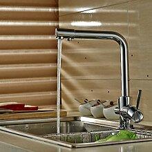 Auralum® 360° Drehung Chrom Küchenarmatur Armatur Spültischarmatur für Küche Mischbatterie Kupfer Wasserhahn