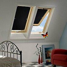 Auralum® 60x93 cm Dachfensterrollo Sonnenschutz Verdunkelungsrollo mit Krafthaftsaugern ohne Bohren 100% Polyester für Velux Dachfenster