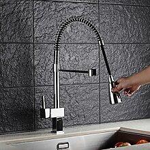 Auralum® Ausziehbare Küchenarmatur Spültischarmatur Einhandmischer Geschirrbrause Wasserhahn Mischbatterie Küche Spülbecken Spültisch Armatur