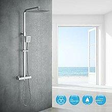 Auralum Chrom Dusche Duschsystem mit Thermostat, 2