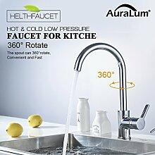 Auralum Chrom Küchenarmatur Niederdruck Kupfer