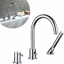 Auralum Chrom Wasserfall Armatur mit Handbrause Duschsystem für Bad Badenzimmer Wannenrandarmatur Hochdruckarmatur Badewanne Waschbecken