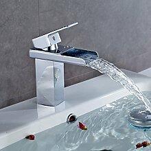 Auralum Chrom Wasserfall Bad Waschbecken Wasserhahn Armatur Waschtischarmatur Einhebelmischer Badarmatur für Kalt Heiß Wasser Typ3