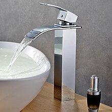 Auralum® Design verlängerte Einhebel Waschtischarmatur Armatur Wasserfall Einhandmischer für Badzimmer