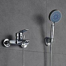 Auralum Einhand-Wannenbatterie Armatur Wasserfall Badewanne Wasserhahn,mit Brausegarnitur Wannenarmatur Chrom