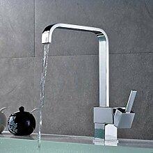 Auralum Einhebel Armatur Wasserhahn mit quadratischem Ausgang Wasserfall Waschbecken für Küche Spüle