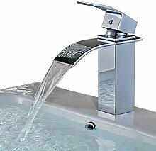Auralum® Einhebel Waschtischarmatur Armatur Wasserfall Einhandmischer für Bad Badenzimmer Waschbecken