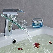 Auralum Glas Armatur Wasserfall Waschbecken