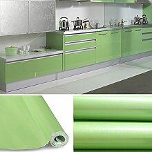 AuraLum® Hochglanz Selbstklebend Tapeten Rollen 61cm x 5m Refurbished Küchenschränke Kleiderschrank PVC Aufkleber Folie Möbel Schrank Tür Papier für Wandplakate - Grün