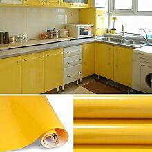 AuraLum® Hochglanz Selbstklebend Tapeten Rollen 61cm x 5m Refurbished Küchenschränke Kleiderschrank PVC Aufkleber Folie Möbel Schrank Tür Papier für Wandplakate - Gelb