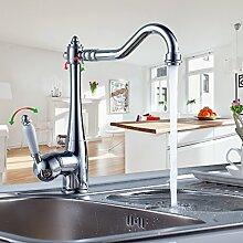 Auralum® Hochwertig Küche Armatur Einhebel Wasserhahn mit weißer Griff Waschtischarmatur Waschbecken Spültischarmatur