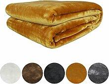 Auralum® Kuscheldecke Mikrofaser Decke Tagesdecke Wohndecke Fleecedecke Wolldecke Gelb 220*240cm