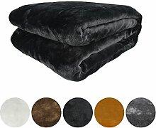 Auralum® Kuscheldecke Mikrofaser Decke Tagesdecke Wohndecke Fleecedecke Wolldecke schwarz 210*280cm