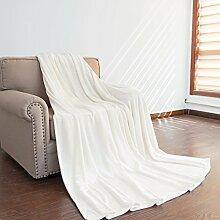 Auralum® Kuscheldecke Mikrofaser Decke Tagesdecke Wohndecke Fleecedecke Wolldecke weiß 150*210cm