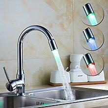 AURALUM LED 360° Drehbar Küchenarmatur Mischbatterie für Küche Spüle