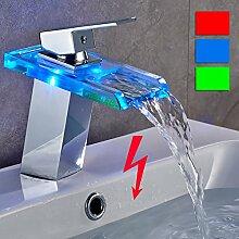 Auralum® LED RGB 3 Farbwechsel Waschtischarmatur ( Niederdruck) Glas Wasserfall Wasserhahn Armatur Chrom Mischbatterie waschbecken armaturen für Badzimmer