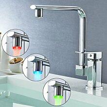Auralum® LED RGB Küchenarmatur Wasserhahn Spüle Waschtischarmatur Mischbatterie für Küche