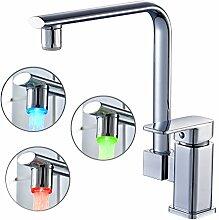 Auralum LED Wasserhahn Waschbecken Armatur Waschtischarmatur RGB Waschbeckenarmatur Wasserfall Einhandmischer