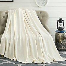 Auralum® Mikrofaser Decke Tagesdecke Kuscheldecke Wohndecke Fleecedecke Wolldecke weiß 150*210cm