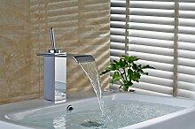 Auralum Mischbatterie Wasserhahn Armatur Waschtischarmatur Wasserfall Einhandmischer für Badezimmer