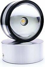 Auralum® Moderne 2W Warmweiß Rund Aluminium LED Wandleuchte Einbauleuchte Energiesparlampe Licht Lampe Innen 200 Lumen