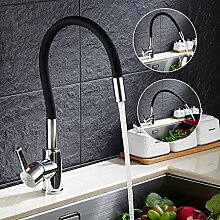 Auralum® Schwarz 360° Drehung Küchenarmatur Armatur Spültischarmatur für Kalt-warmwasser Küche Einhandhebelmischer Mischbatterie Kupfer Wasserhahn Chrom