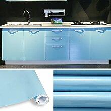 AuraLum® Selbstklebend Küchenschrank-Aufkleber PVC Tapeten Rollen für Möbel Küche Schrank 61cm x 5m Aufkleber Folie Möbel Schrank Tür Papier für Wandplakate - Hellblau