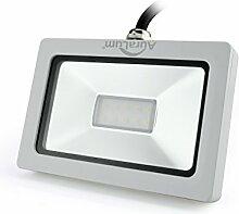 Auralum super slim 10W LED Flutlicht Fluter Strahler 220V Außenleuchte,750LM, 2800K, Warmweiß ,IP65 Wasserdicht, Aluminium,Flutlichtstrahler floodlight outdoor LED in Weiß Spotbeleuchtung spot lampe Wandspots