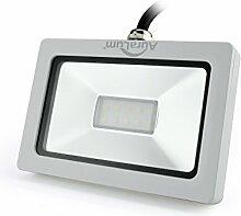 Auralum super slim 10W LED Flutlicht Fluter Strahler 220V Außenleuchte, 750LM, 6000K, Kaltweiß,IP65 Wasserdicht, Aluminium,Floodlight in Weiß LED Scheinwerfer AußenleuchtenWandstrahler Wandleuchter