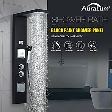 Auralum Thermostat Duschpaneel Regendusche Edelstahl Brausethermostat-Duschset Dusche Set Armatur Duschsystem Handbrause Duschsäule