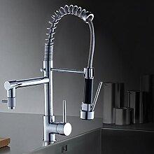 Auralum® Umweltschutz Ausziehbare J-Form Hochdruck Wasserhahn 2-Funktionen Quadrat Kalt-warm Küchearmatur Kupferkörper Wasserfall Mischbatterie Armatur für Einzel- doppelt Waschbecken
